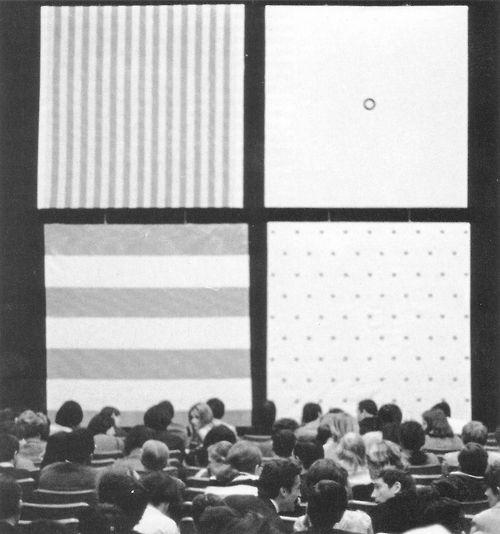 grupaok:  BMPT (Daniel Buren, Olivier Mosset, Michel Parmentier, andNiele Toroni), manifestation no. 3, Musée des Arts Décoratifs, Paris, ...