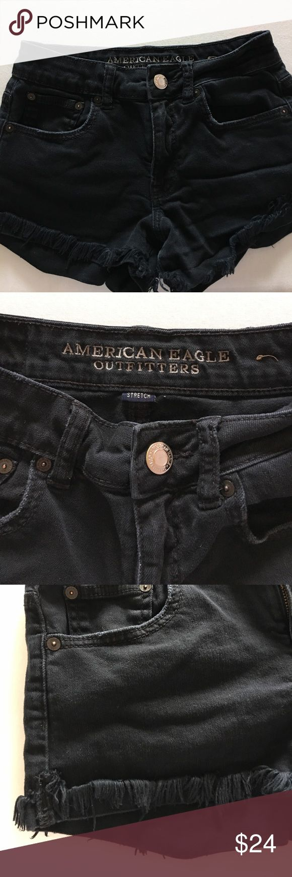 AE OUTFITTERS Black Jean Shorts Black American Eagle Outfitter jean shorts. Distressed legs. American Eagle Outfitters Jeans