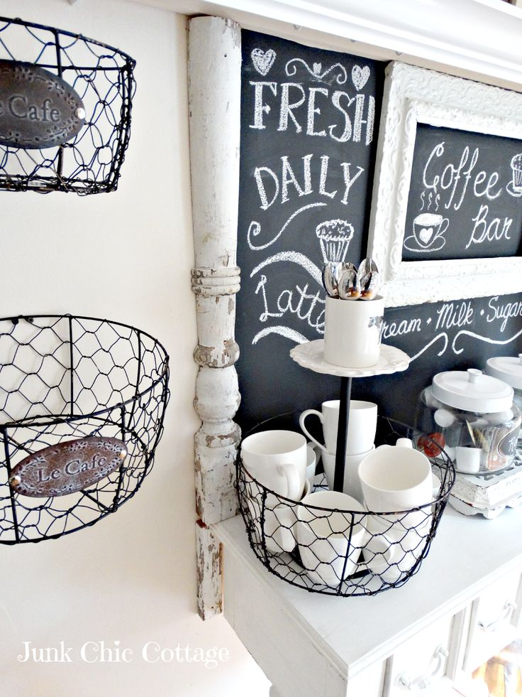 cute basket for coffee station- kcups on bottom, spoons on top for stirring