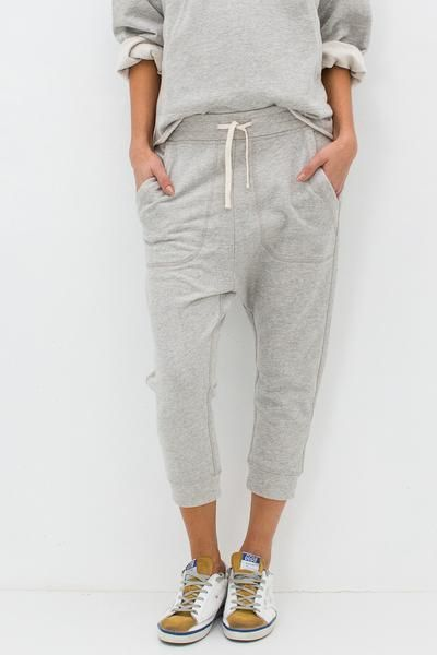 """- 100% Cotton - Cotton French Terry - Cropped, drop-rise silhouette - Draw string waist - Slant front pockets - Patch back pockets - Pulls on - Color: Heather Grey - Model is 5'9"""" and wears a size Pet"""