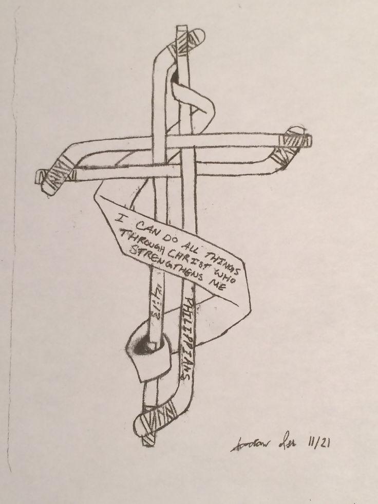 Cross Made Out Of Hockey Sticks Stick Tattoo Sleeve