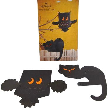 hallmark black cat owl fold out halloween decorations in original package