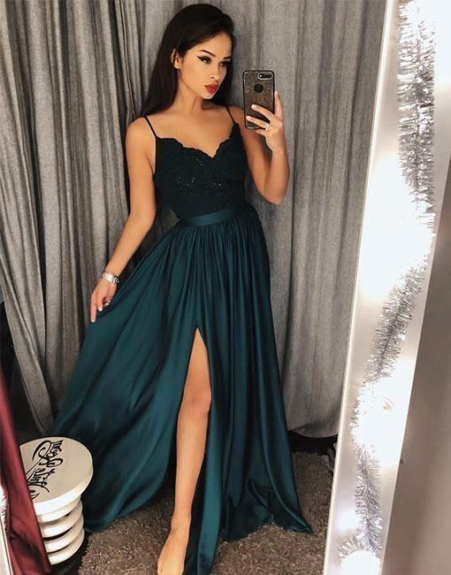 Charming Dark Green V-Neck Lace Bodice Prom Dress,Green Slit Side Evening Dresses chiffon prom dresses