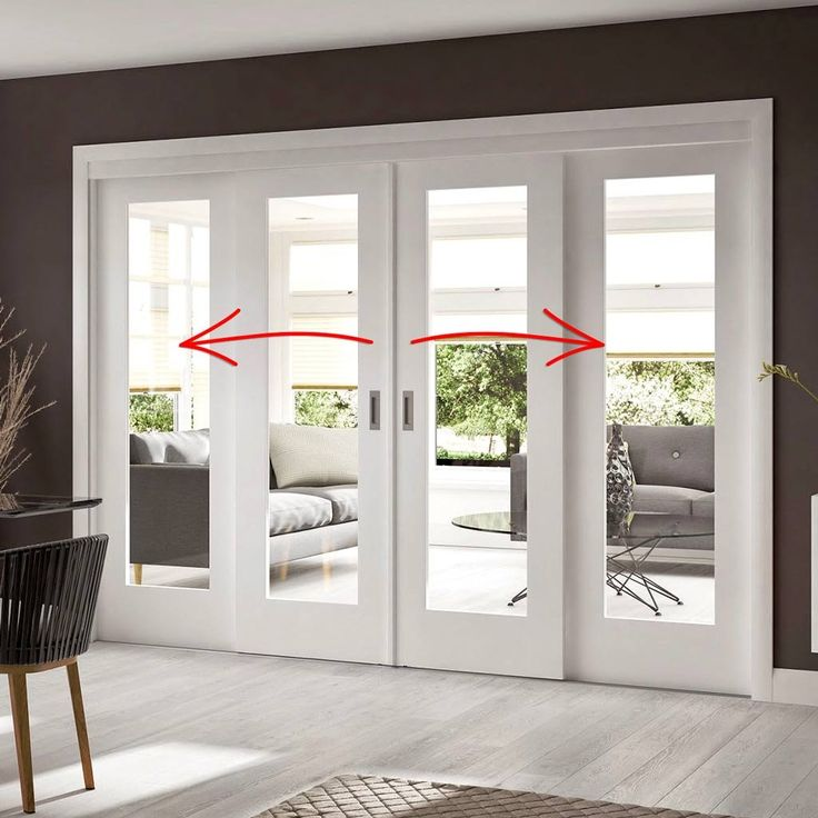 sliding door system in four size widths with clear glass and sliding