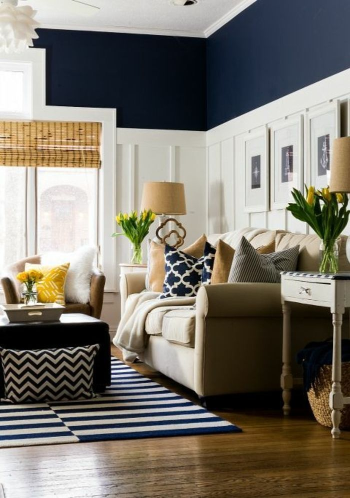 Home Interior Design Two Tone Living Room Walls Dark Navy Blue And Navy Living Rooms Living Room Decor Pieces Navy Blue Living Room