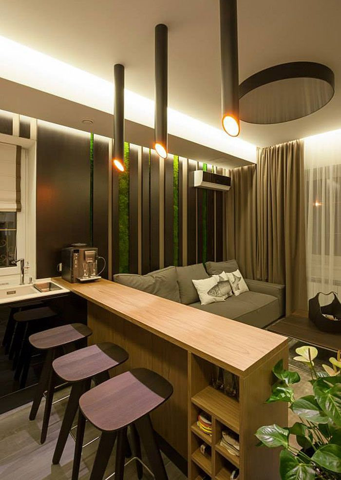 Fresh Design of Modern Urban Home by SVOYA Studio #kitchen #bar with elegant #lighting