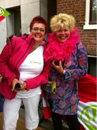 Roze Zaterdag in Groningen samen met Ineke van Gent van GroenLinks bij de RozeLinks stand.