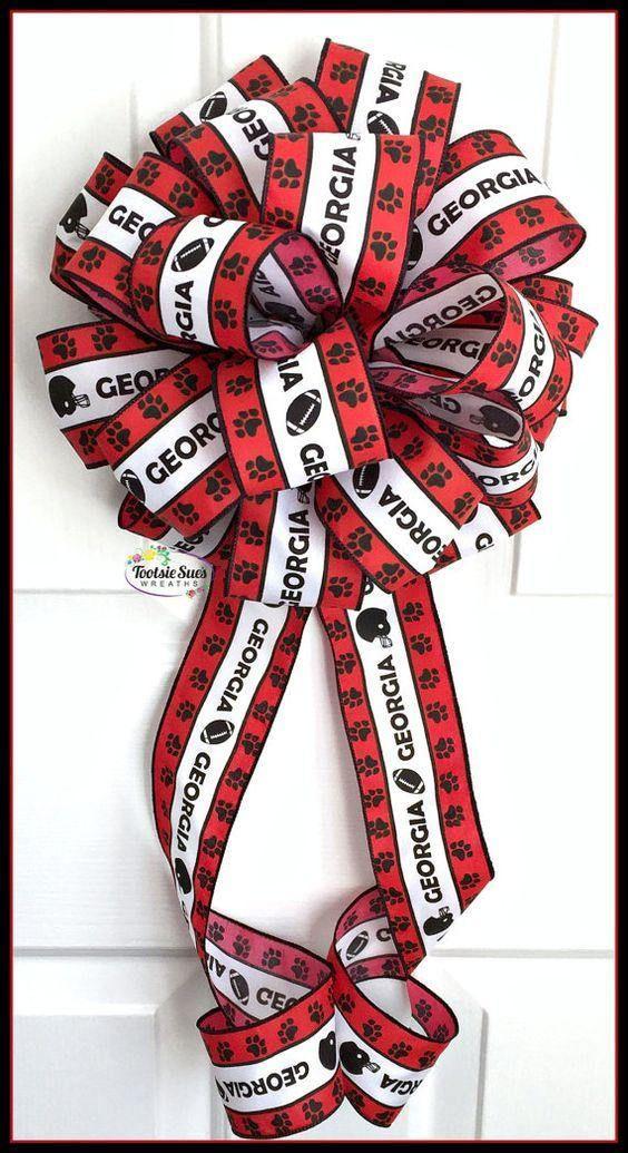 Georgia Bulldogs Paw Print Bow Game Day Bow Black Red White