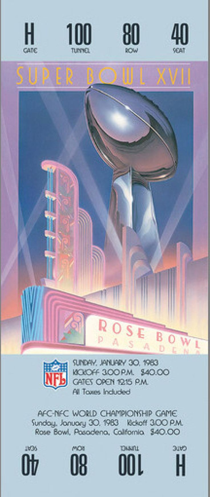 Super Bowl XVII - Washington Redskins vs. Miami Dolphins - Played on January 30, 1983, at the Rose Bowl in Pasadena, California. The average ticket cost for the game was $40.00. The MVP of the game was Redskins RB John Riggins. Favorite: Dolphins by 3. Referee: Jerry Markbreit. Attendance: 103,667. 30-second commercial: $400,000. Halftime show: Los Angeles Super Drill Team. Viewers - 81.7 million