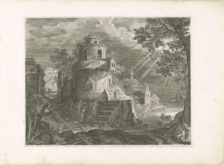 Roelant Savery   Toren aan de rand van een dorp, Roelant Savery, 1597 - 1629   Een grote toren aan de rand van een dorp, nabij de oever van een rivier. Reizigers op de rechtervoorgrond. De laatste prent van een vierdelige reeks met landschappen in Bohemen