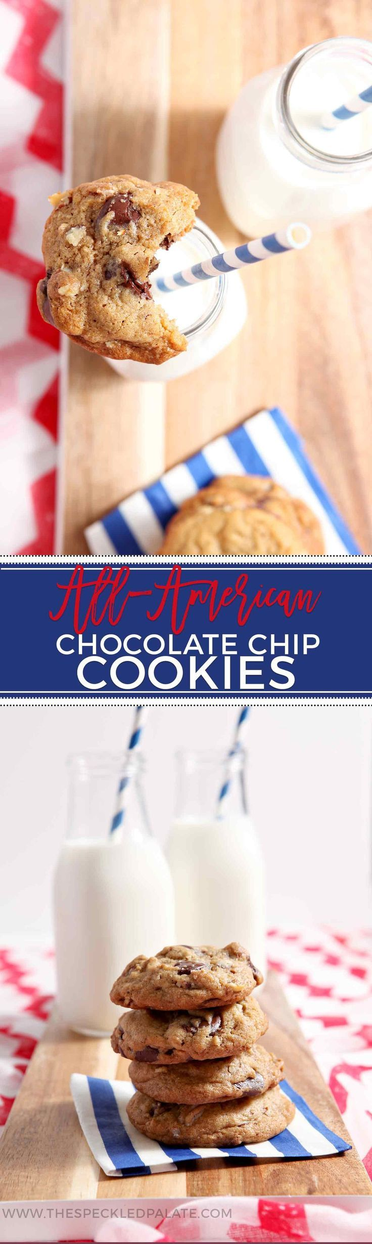 All-American Chocolate Chip Cookies are ooey, gooey and utterly delicious! These cookies are best served warm with a cold glass of milk. #recipe #cookies