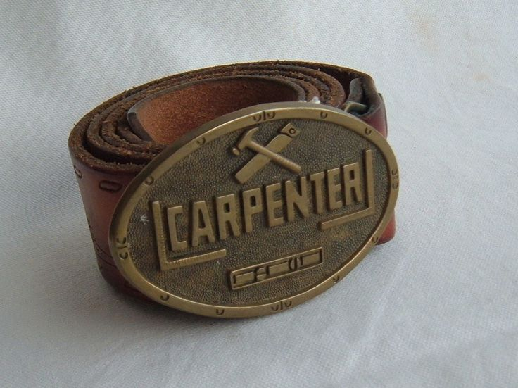 "VINTAGE 1978 BARON BUCKLE SOLID BRASS ""CARPENTER"" BELT BUCKLE w/ BELT…"