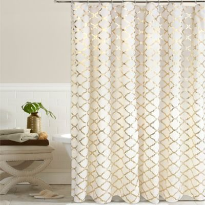 This Elegant Poly Cotton Curtain Completes Any Bathroom With Its Unique And  Contemporary Gold Foil Print.