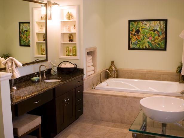 HGTV.com showcases a neutral bathroom with two popular sink styles: undermount and vessel.