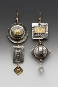 "Earrings, hand fabricated sterling silver,  14 karat & 22 karat gold  2"" x 1/2 ""  by Susan Brooks"