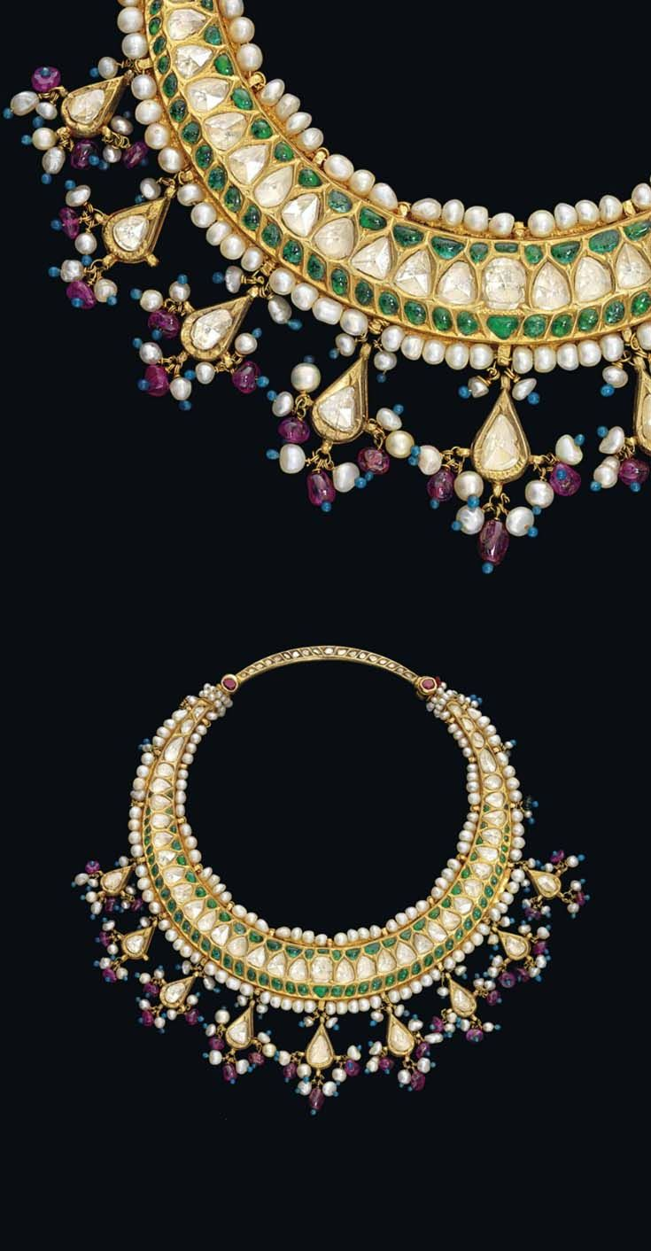 North India | Child's necklace ~ hasli ~ gold, diamonds, emeralds, pearls, turquoise enamel beads | ca. late 19th century | Est. 3'000 - 4'000£ ~ Oct '15