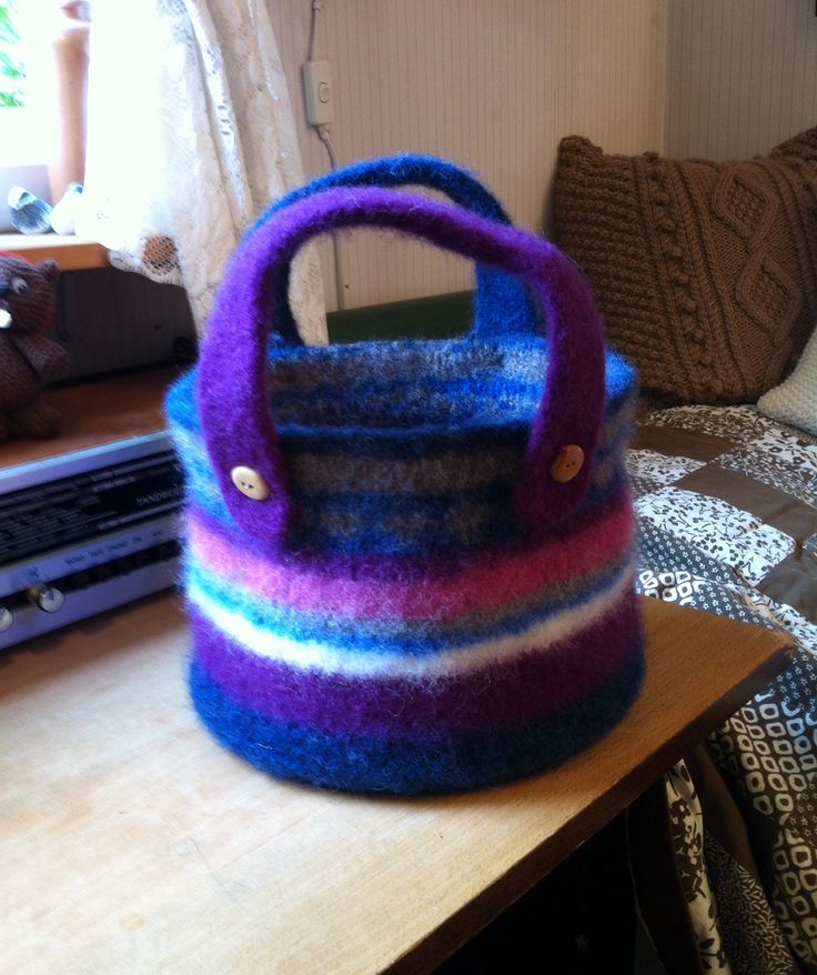 Another knitted and felted basket - made of scraps of woolen yarn