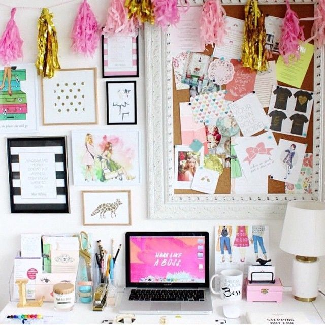 I love and need this funky, girly, energising workspace!! I screams excitement and creativity!