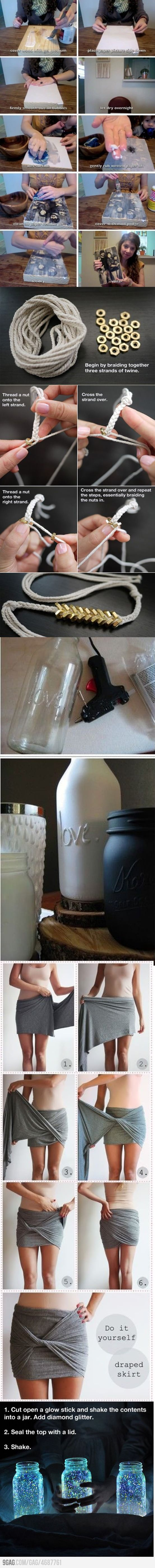 Cool do it yourself stuff - the photo on boards, glue gun and paint on bottles, and the glow stick in jar could be cool wedding things...