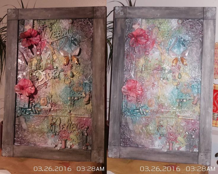 Mixed media canvas using shimmerz paints, and a frame that I saved from a broken mirror. Altered art.