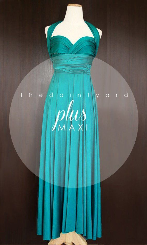 cfd9a2724d5 MAXI Plus Size Teal Green Bridesmaid Dress Convertible Dress Infinity Dress  Multiway Dress Wrap Dres