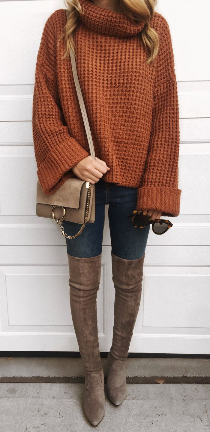 #winter #outfits women's brown sweater. Click To Shop This Look.