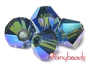 Montana AB2X - Austrian Swarovski Crystal Elements 5301/5328 Xilion Bead Bicones 4mm