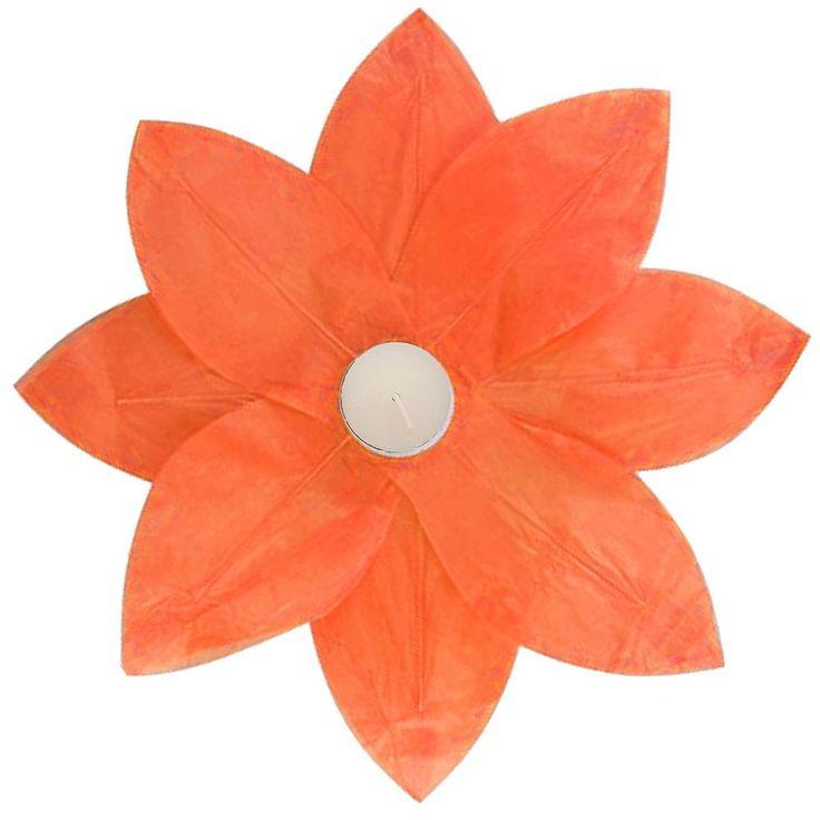LumaBase 6-pk. Lotus Floating Paper Lanterns - Outdoor, Orange