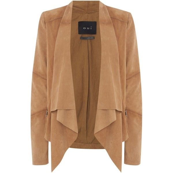 Oui Suede waterfall jacket ($445) ❤ liked on Polyvore featuring outerwear, jackets, cardigans, tops, tan, women, tan suede jacket, suede jacket, suede leather jacket and tan jacket