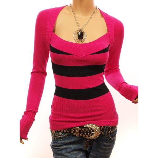 Patty Women Sexy Strips Bolero Style V Neck Knit Top Sweater ($44) ❤ liked on Polyvore
