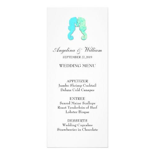 Tropical Wedding Menu Seahorse Couple Tall Beach Wedding Menu Template Card
