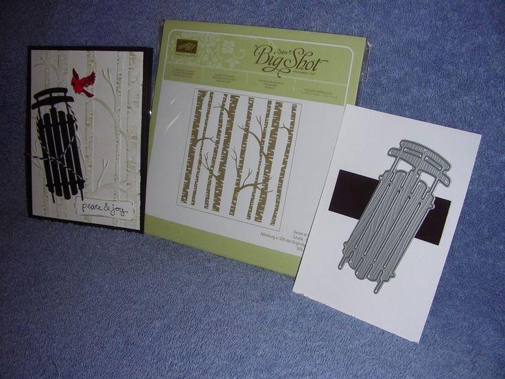 stampin up WOODLAND embossing folder & SLED FRAMELIT-dies by dave-NEW-lot + card #StampinUp