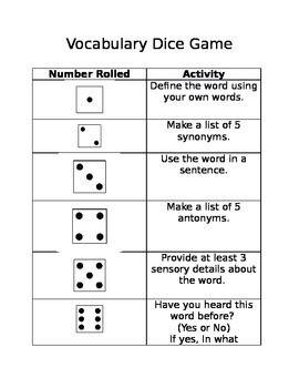 Free! Vocabulary Dice Game