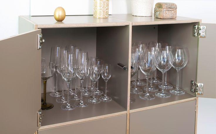 Hängeregal mit Türen zum Bespiel für Geschirr, Gläser im Wohnzimmer