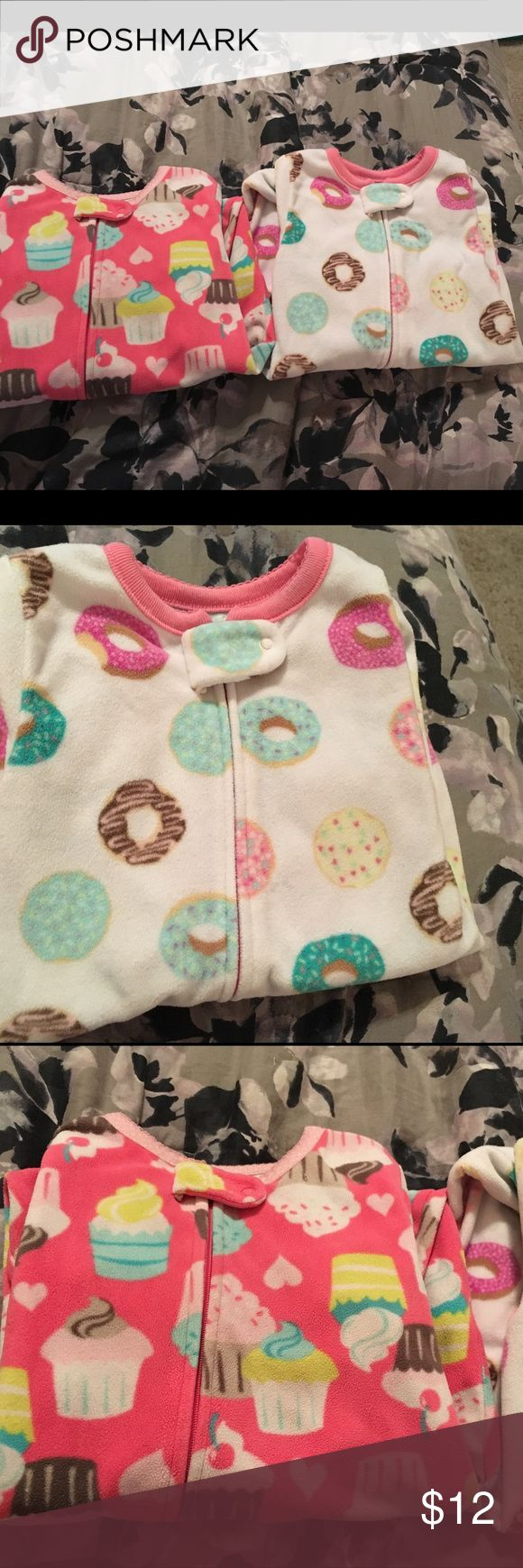 Super cute fleece pjs for Babygirl 2 fleece Babygirl pjs from carters store not Walmart or target. One is cupcake design and one donuts, both size 12m Carter's Pajamas Pajama Sets