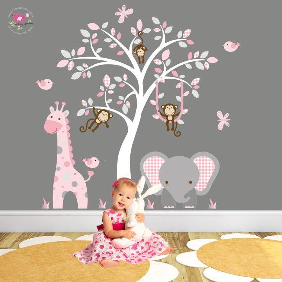Captivating Giraffe And Elephant Wall Decal Pink And Grey Nursery Decor.