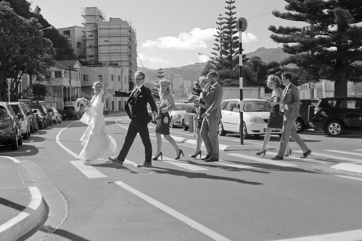 The Abby Road walk across Oriental Parade.    Photography by Melissa Thorburn
