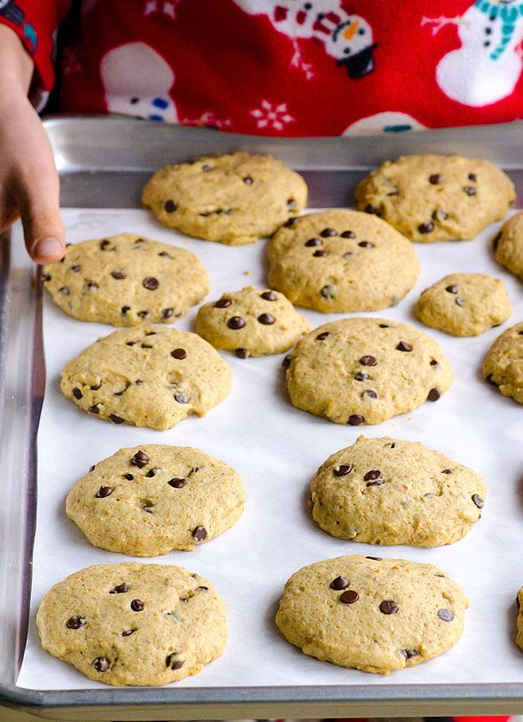 Healthy Chocolate Chip Cookies -- Clean eating cookies made with coconut oil, maple syrup and whole wheat flour. My son brought a few to school and all kids loved them.