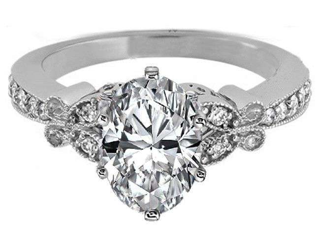 Oval Diamond Butterfly Vintage Engagement Ring setting  - ES334OVWG