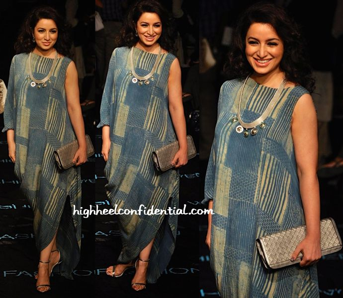 Tisca Chopra in Cell Dsgn 11.11 and Suhani Pittie at LFW 2014. kudos to her for always trying something new.