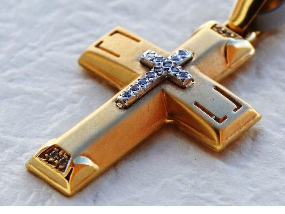 14K Gold Cross Necklace Pendant for woman Gold Cross by KANTILAKI