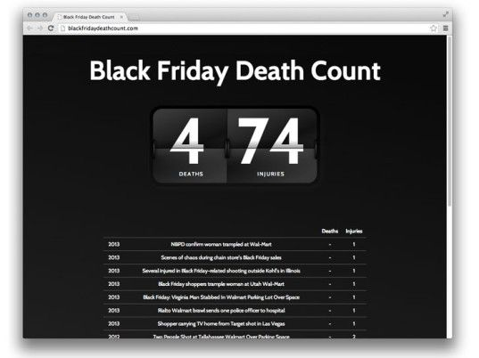 """""""Black Friday Death Count"""" Website is Exactly as Advertised"""