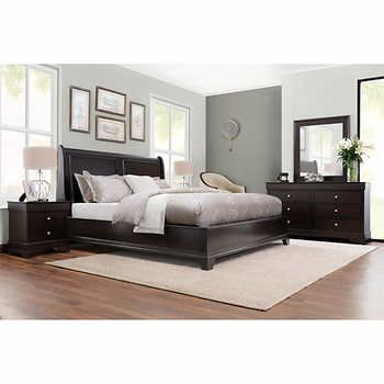 Aurora 5-pc. King Set Costco smaller nightstand only 22inches (6 extra inches over what we have now - also has electrical outlets in drawers.