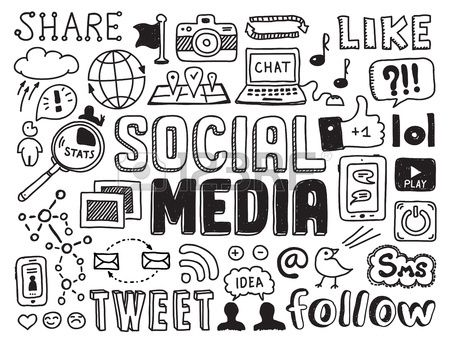 Hand drawn vector illustration set of social media sign and symbol doodles elements  Isolated on white background Stock Vector