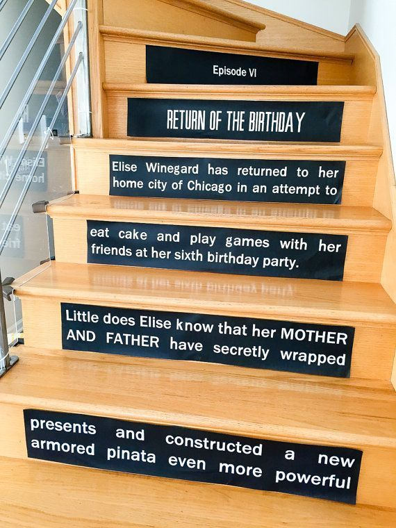 Star Wars Opening Crawl Stair Risers Signs // Star Wars-inspired personalized printable birthday party decoration - INSTANT DOWNLOAD