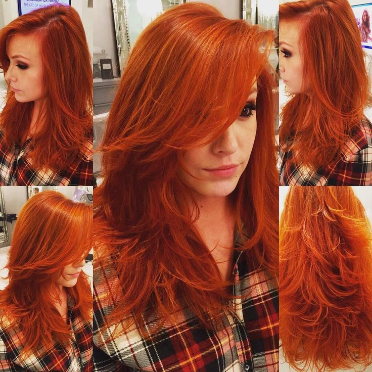 Gorgeous Carrot-Red Long Straight Hair with Tons of Layers