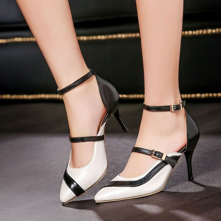 US4-11 New Womens Heels Multi Color Buckle Straps Pointy Toe Party Elegant  Shoes