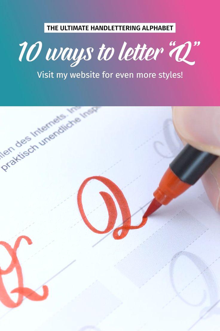 """10 ways to letter """"Q""""   Brushlettering"""