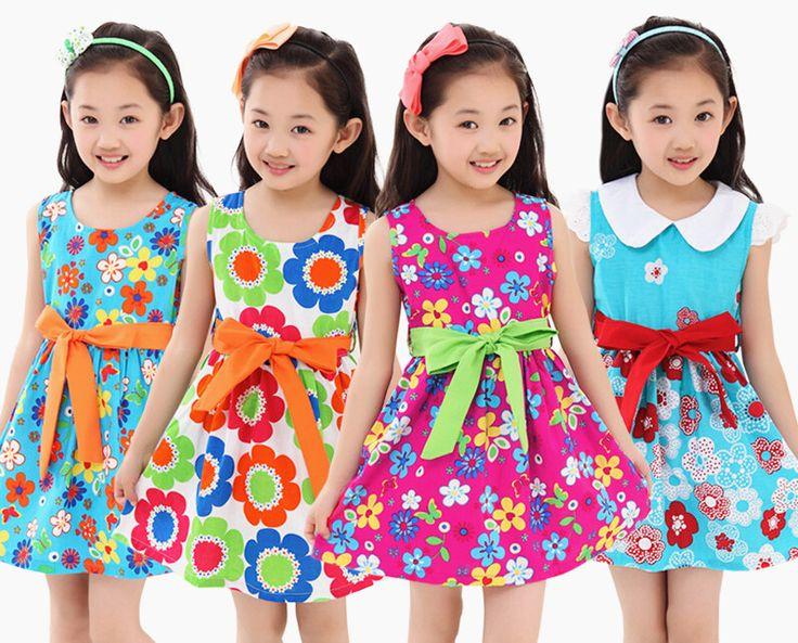 Розничная 2015 девушки одежда платья дети 4 16 лет девушка платье детей красивая с бантом пояс цветок девушки акварель платье, принадлежащий категории Платья и относящийся к Одежда и аксессуары на сайте AliExpress.com   Alibaba Group