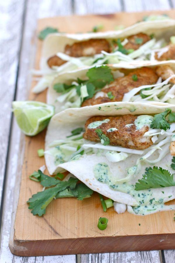 Fish Tacos with Creamy Jalapeno Sauce
